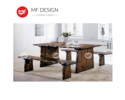 MF DESIGN Stump Original Rubber Wood Dining Set - 6 Feet (1 Table + 2 Bench) [Full Solid Rubber Wood]
